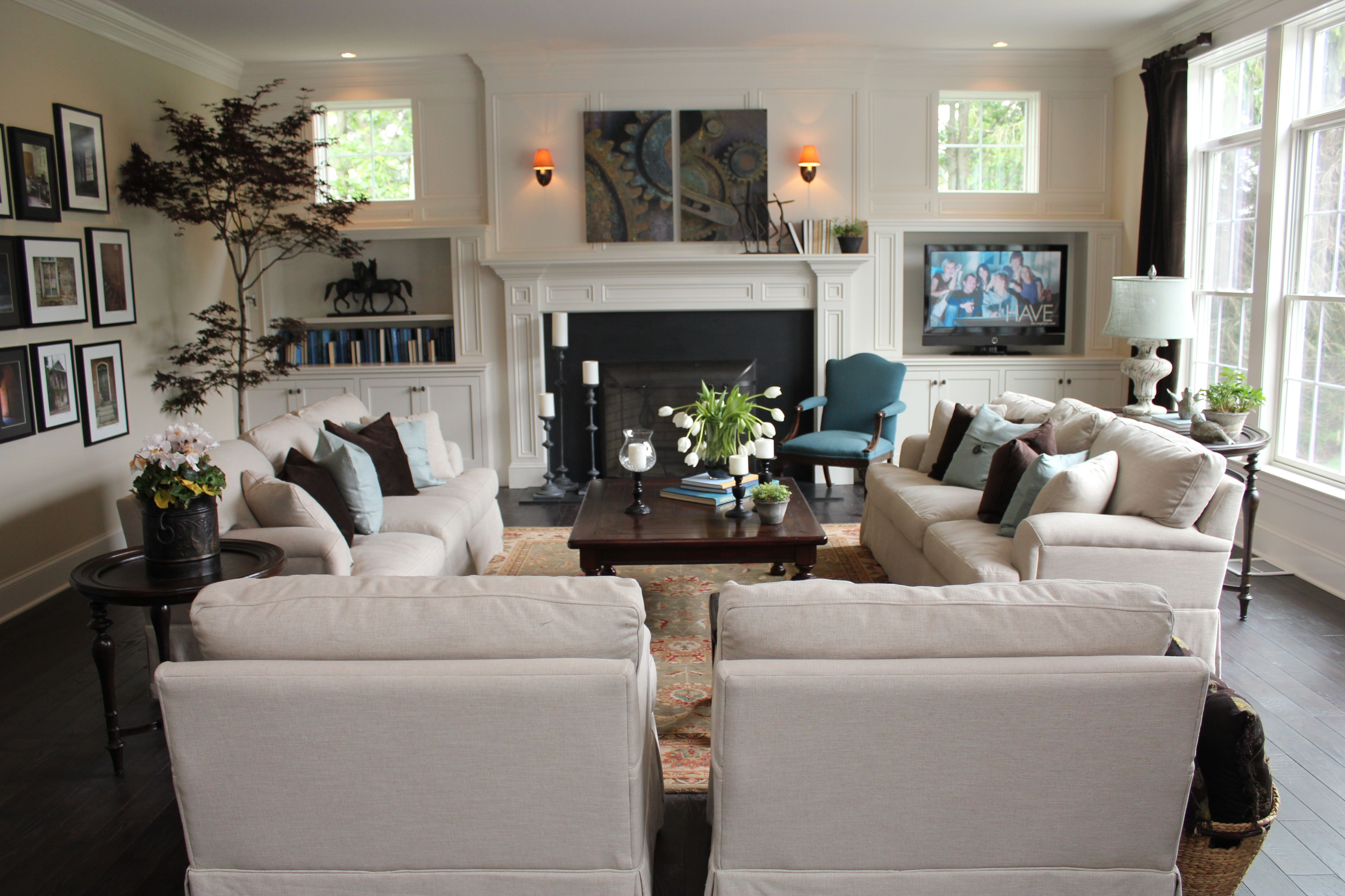 love this furniture layout for the family room for the home