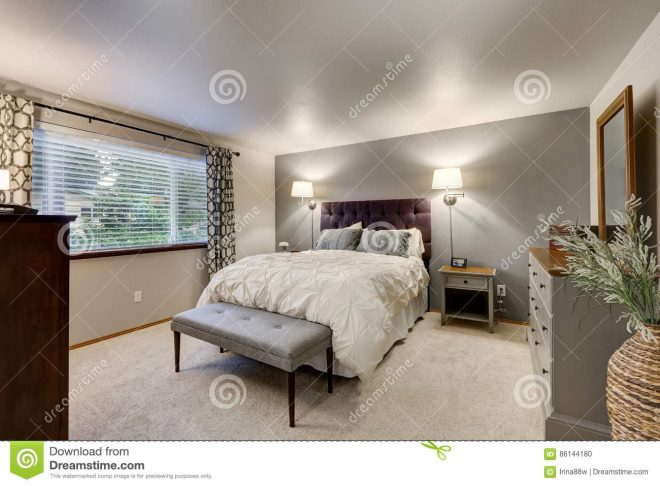 lovely bedroom with grey accent wall stock photo image of