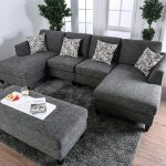 lowry grey chenille fabric sofa sectional with ottoman high density foam cushions accent pillows