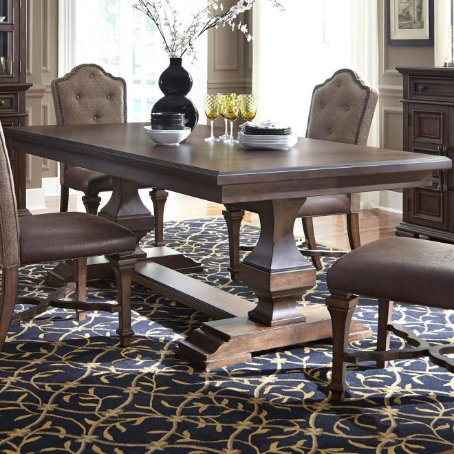 lucca double pedestal dining table