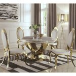 luxurious modern design 5 piece gold dining set with marble table top