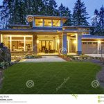 luxurious new construction home exterior stock photo image