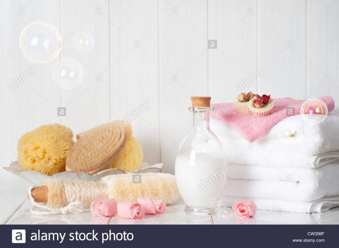 luxury bathroom spa products with bubbles stock photo