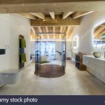 luxury bathroom with shower and wood ceiling stock photo