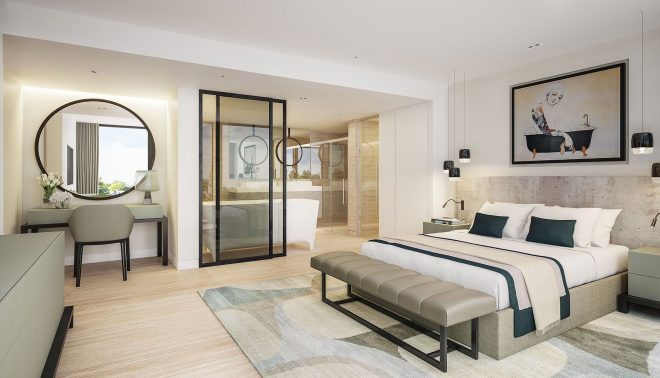 luxury contemporary master bedroom suite with open plan