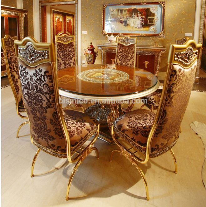 luxury french baroque style dining room sets classic golden wood carving round dining table with dining chair for six people buy classic golden