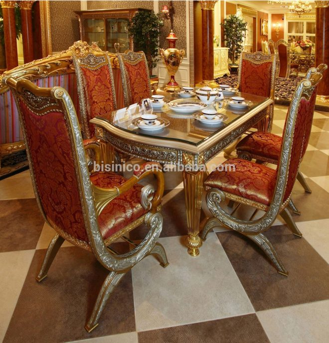 luxury french baroque style home dining room sets antique golden gorgeous wood carving dining table for six people with chairs view french style