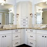 luxury large white master bathroom cabinets with double sinks stock