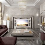 luxury livingroom with big tv wall unit for 75 inches tv