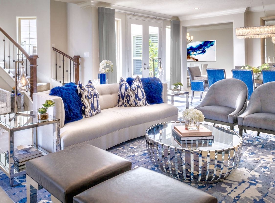 luxury london living room decor in white blue and grey with