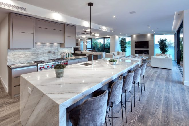 luxury modern kitchen with large island with granitemarble