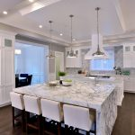 luxury modern white kitchen with marble island digs luxury