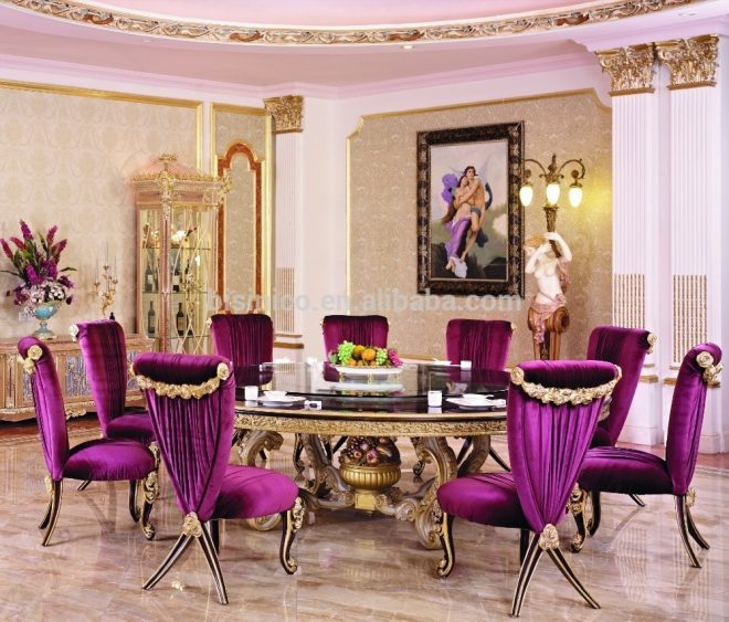 luxury wood carving round dining table for 10 people with purple dining chair french new classic dining room furniture view round dining table
