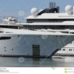 luxury yacht with private helicopter stock image image of