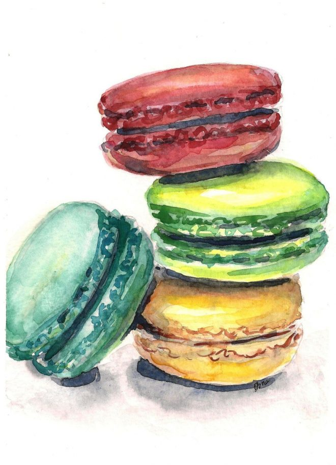 macaron painting macaroon art watercolor painting kitchen