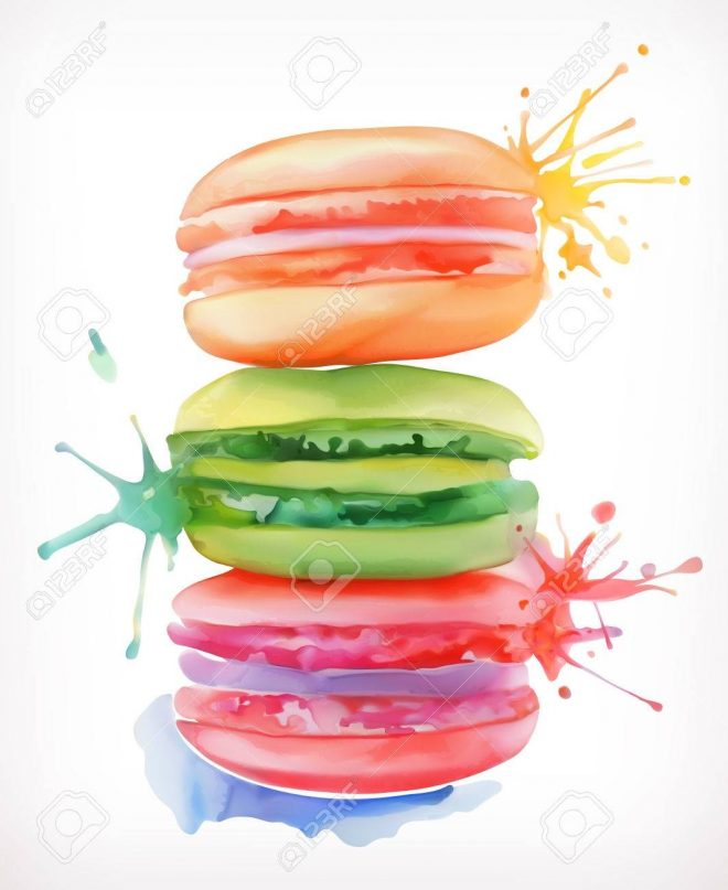 macarons vector illustration watercolor painting isolated on