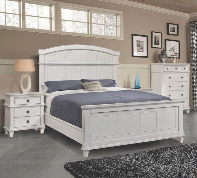 magnolia antique white cottage style king bed
