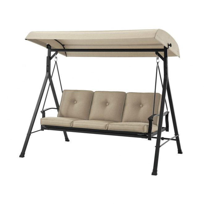 mainstays belden park 3 person porch swing frame set with canopy tan