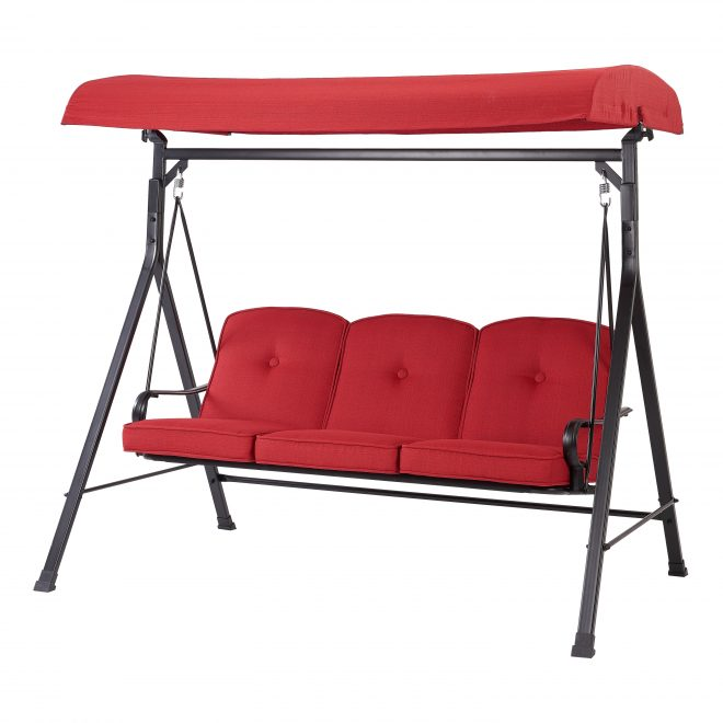 mainstays carson creek 3 seat canopy patio swing with red cushions