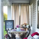 make outdoor drop cloth drapes a porch warming party idea