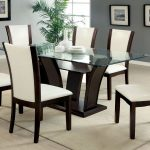 manhattan i dark cherry dining set w white chairs furniture of
