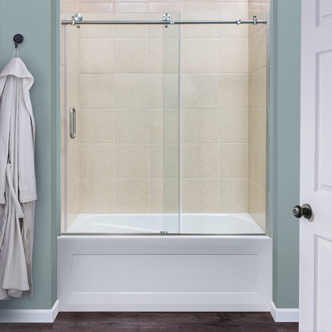 marina collection 38 frameless roller tub and shower door