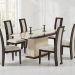 mark harris alba cream and brown constituted marble dining set with 6 rivilino chairs