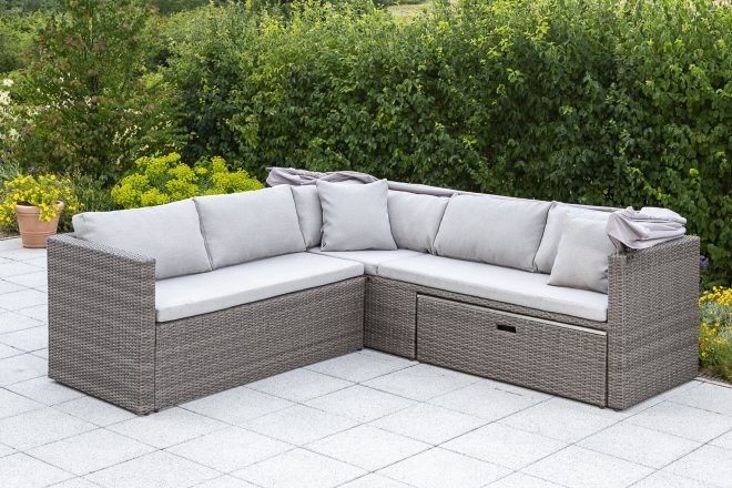 marra garden corner sofa with cushions
