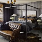 masculine bedroom with charcoal and leather bedroom in