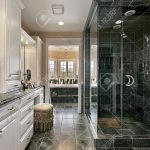 master bath in luxury home with black glass shower
