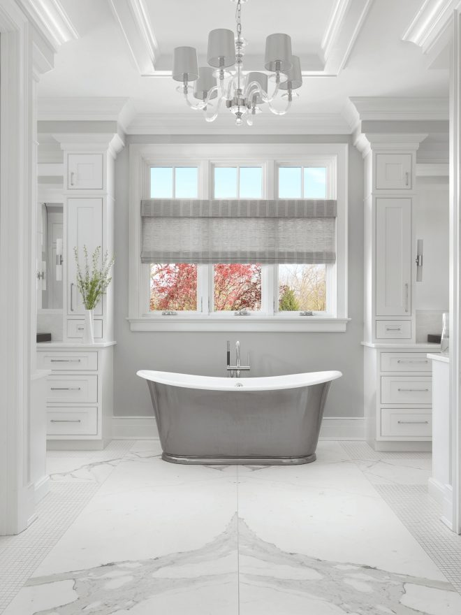 master bathroom with freestanding tub beckallen cabinetry