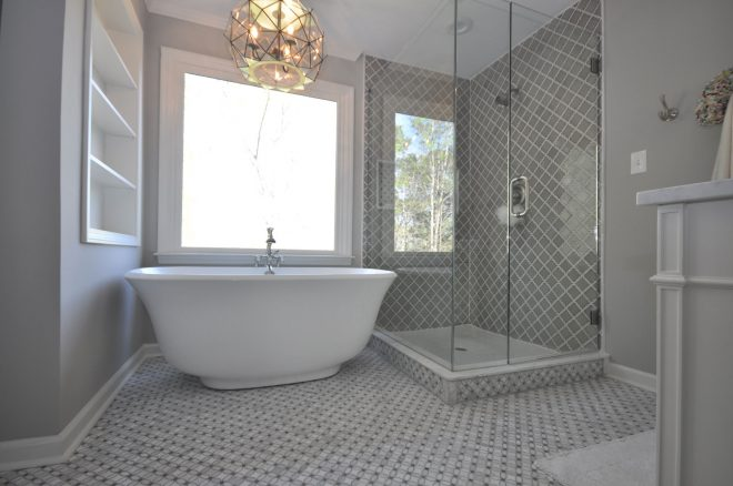 master bathroom with freestanding tub custom shower taber