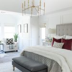 master bedroom decorating ideas with modern brass chandelier and