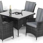 maze rattan la 4 seat square ice bucket dining set