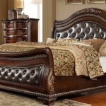 mcferran b9588 cherry leather headboard sleigh king size bed traditional