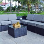 mcombo black wicker patio sofa steel outdoor patio furniture sectional all weather light weight conversation set with 512thickness cushions