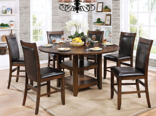 meagan ii brown cherry round counter height dining room set