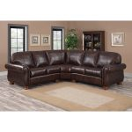 melrose dark brown italian leather three piece sectional sofa