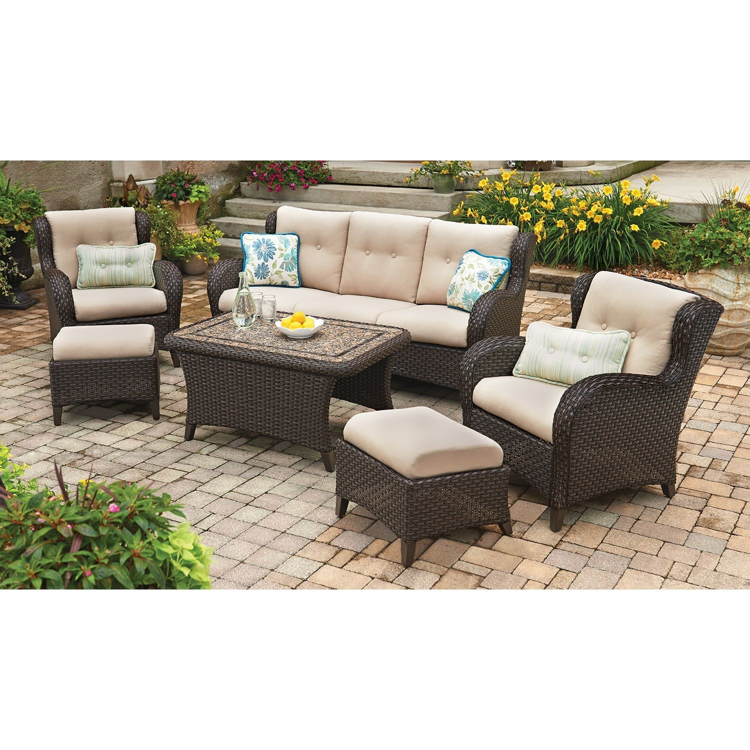 members mark heritage 6 piece deep seating set with premium
