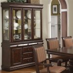 merlot buffet and hutch with three glass doors crown mark at miskelly furniture