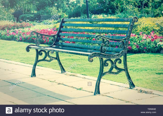 metal bench in gardenvintage style light stock photo