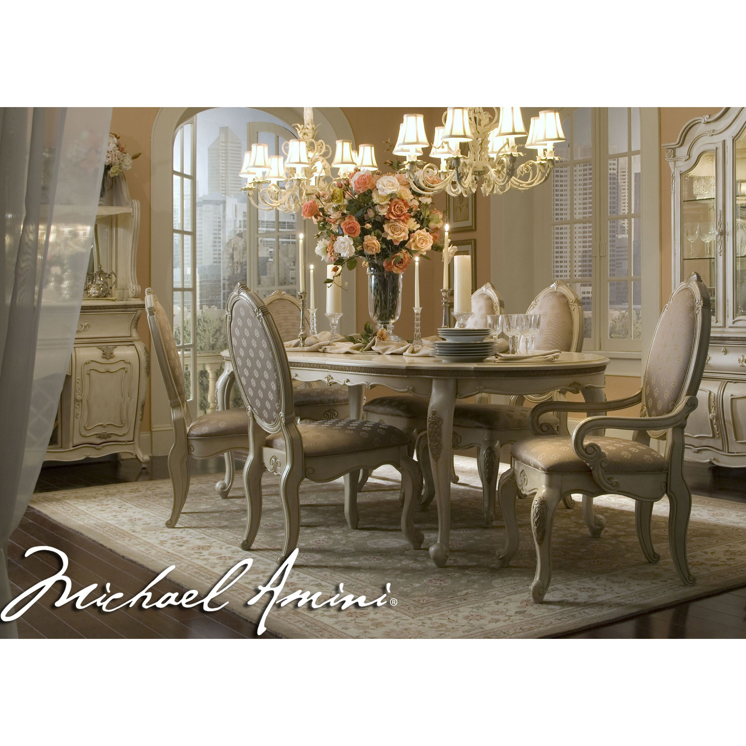 michael amini 7pc lavelle blanc oval dining table set aico for