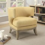 mid century design yellow chenille living room accent chair with nailhead trim