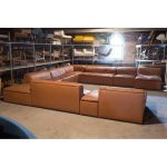 mid century modern 1950s italian leather pit sectional sofa
