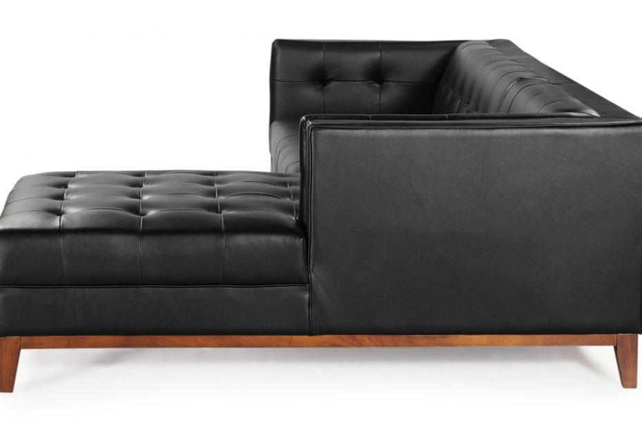 mid century modern harrison chaise sectional leather or fabric