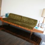 mid century platform sofa lounge with attached coffee tables