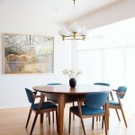 minimalist mid century modern inspired dining room decor with blue