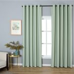 mint green simple minimalist scandinavian style window curtains for living room