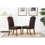 mod urban style wood nailhead faux leather padded parson chair set of 2 brown