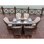 moda 7 piece patio wicker square dining table set with cushions